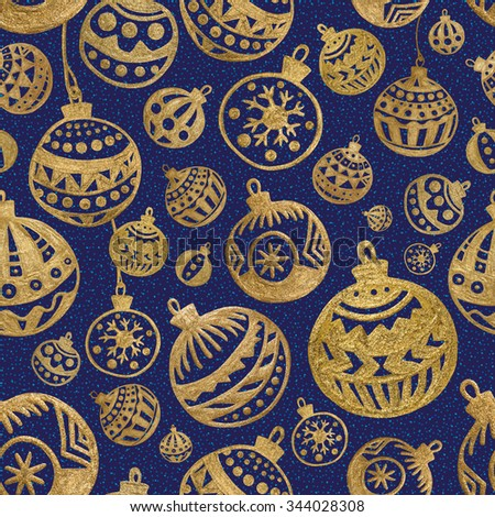 Seamless pattern. Hand drawn xmas background. Gold christmas balls.