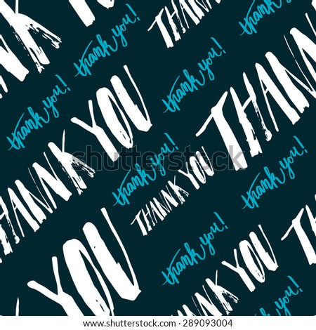 Seamless pattern handmade lettering signs THANK YOU - stock photo