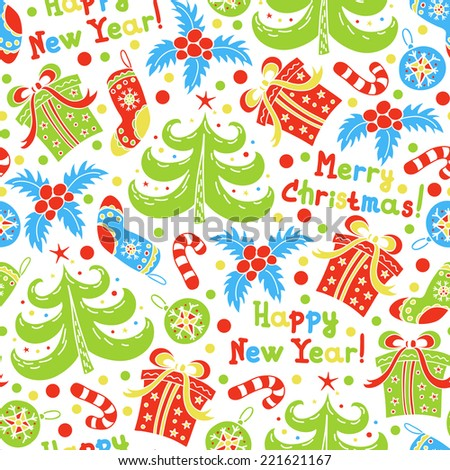 Seamless pattern Happy New Year and Christmas on a white background