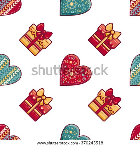 Seamless pattern.  Hearts and gift. Raster version - stock photo