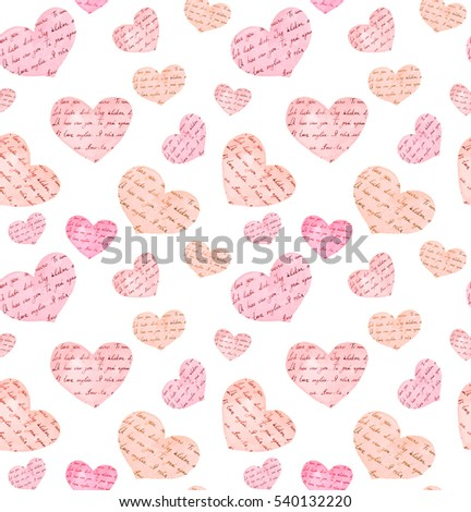 "Seamless pattern - hearts with ink written letters ""I love you"" in different languages. Watercolor"