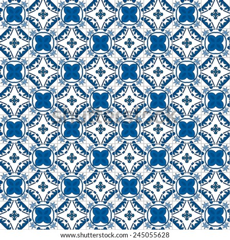 Seamless pattern illustration in traditional style - like Portuguese tiles - stock photo