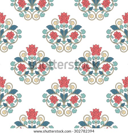 Seamless pattern in China style. Raster version. - stock photo