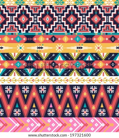 Seamless pattern in native american style - stock photo