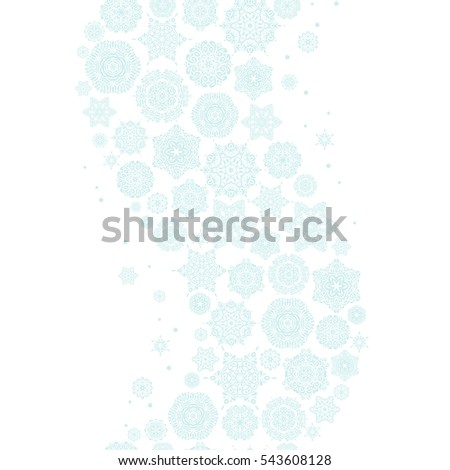 Seamless pattern in neutral colors on white background. Snowflakes winter New Year frame.