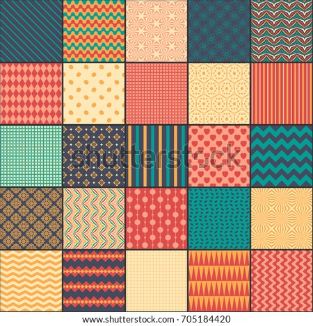 Seamless pattern in style of patchwork, raster copy. Each square of the pattern is also seamless backgrounds. Set of backgrounds.