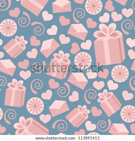 Seamless pattern made of pink falling gift boxes, envelopes, hearts on dark blue background.