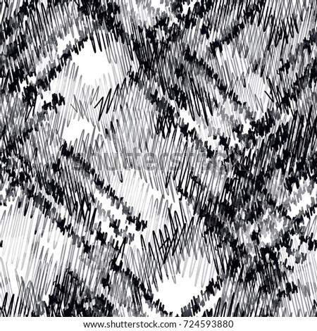 Seamless pattern monochrome design. Black and white background with ethnic elements and watercolor effect. Textile print for bed linen, jacket, package design, fabric and fashion concepts.