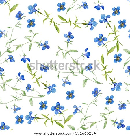 Seamless pattern of a little blue flowers. Pattern with blue flowers. Seamless pattern of a little blue flowers. Watercolor flowers. Watercolor pattern with wildflowers.