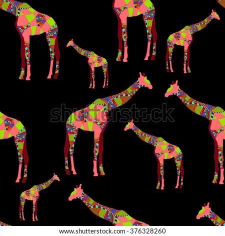 seamless pattern of animals - stock photo