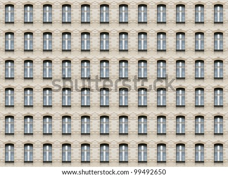 Seamless pattern of arc windows on beige brick wall