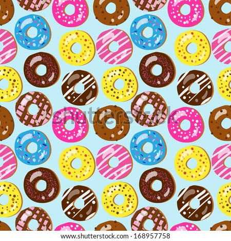 Seamless pattern of assorted donuts with different toppings (birthday party, wedding celebration, wrapping paper, textile, wallpaper design) - stock photo