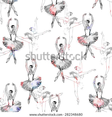 Seamless pattern of ballet dancers, black and silver drawing, watercolor painting, monochrome with color accents isolated on white background. - stock photo
