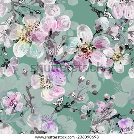 Seamless pattern of beautiful flowers-1 - stock photo