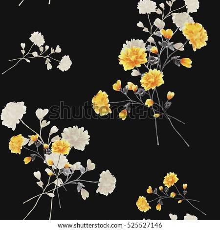 Seamless pattern of beige and yellow flowers and branches on the black background. Watercolor