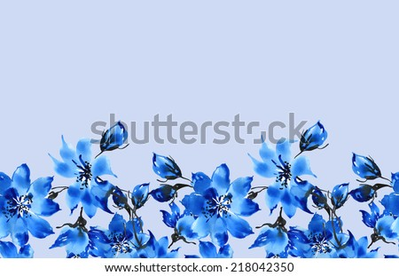 Seamless pattern of blue flowers border-5 - stock photo