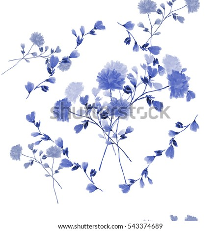 Seamless pattern of bouquet with blue flowers in frame of blue branches on a white background. Watercolor