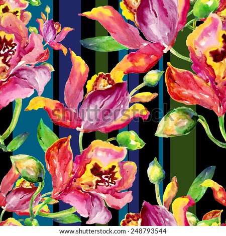 Seamless pattern of bright watercolor orchid. Hand painted watercolor painting.beautiful original pattern for design and decoration. wonderful print.Seamless floral background with flowers. -6 - stock photo