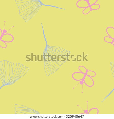 Seamless   pattern of  butterflies, leaves. Hand drawn.