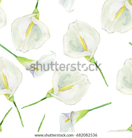 Seamless Pattern Calla Lily Flowers Leaves Stock Illustration ...