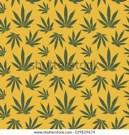 seamless pattern of cannabis on a yellow background. Raster version - stock photo