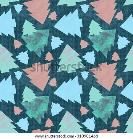 seamless pattern of Christmas trees in retro style. Raster version - stock photo