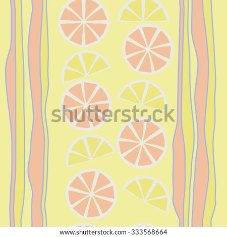 Seamless    pattern  of citrus  and striped motif, spots, circles, slices . Hand drawn.