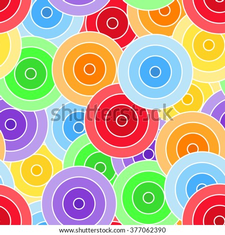 Seamless pattern of colorful circles with white border - stock photo