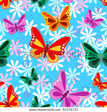Seamless pattern of colorful flying butterflies with pastel color flowers over sky blue background, tropical look.