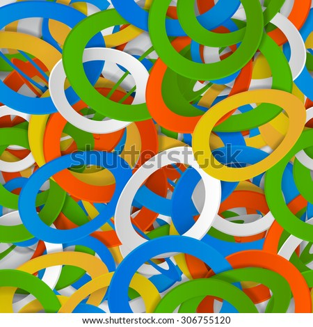 Seamless pattern of colorful three-dimensional rings - stock photo