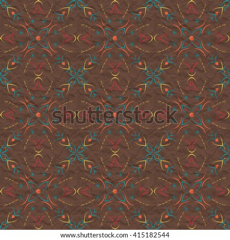 Seamless pattern of curved lines on a background of the crumpled paper - stock photo