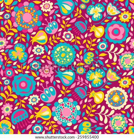Seamless pattern of cute abstract flowers, colorful background.