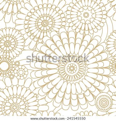 seamless pattern of decorative stylized flowers - stock photo
