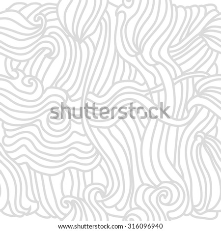 Seamless  pattern of delicate striped motif,waves, spirals,  doodles,   stripes, hole . Hand drawn.