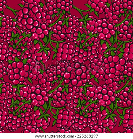 Seamless pattern  of delicious ripe berries
