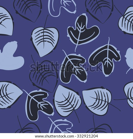 Seamless    pattern  of floral motif,leaves, spots, hole, autumn theme. Hand drawn.