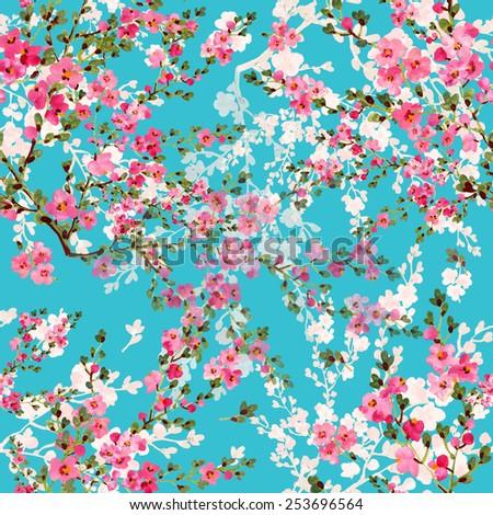 Seamless pattern of flowering - stock photo