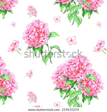 Seamless pattern of flowers hydrangea. Watercolor - stock photo