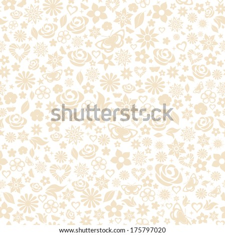 Seamless pattern of flowers, leafs, stars, butterflies and hearts. Beige on white. Raster version. - stock photo