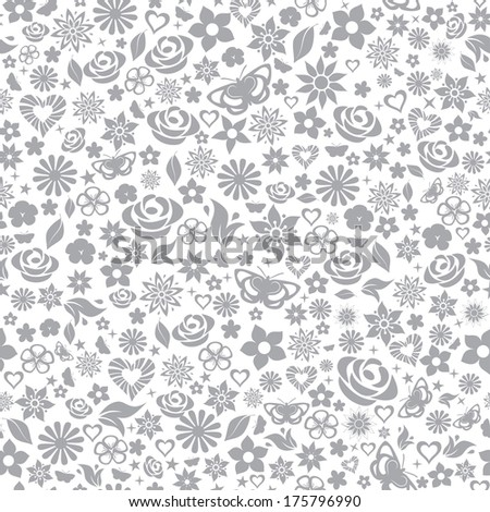 Seamless pattern of flowers, leafs, stars, butterflies and hearts. Gray on white. Raster version. - stock photo