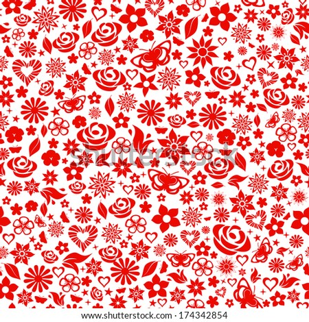 Seamless pattern of flowers, leafs, stars, butterflies and hearts. Red on white. Raster version. - stock photo