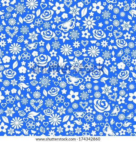 Seamless pattern of flowers, leafs, stars, butterflies and hearts. White on blue. Raster version. - stock photo