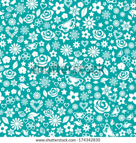 Seamless pattern of flowers, leafs, stars, butterflies and hearts. White on turquoise. Raster version. - stock photo