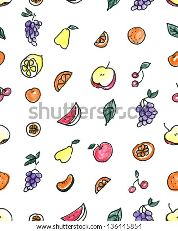 Seamless pattern of fruit: pear, Apple, orange, Mandarin, grapes, cherries on a white background.