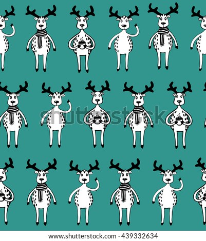 Seamless pattern of funny sketch deers. Black and white animals on turquoise background. Raster copy. - stock photo