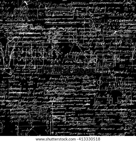 Seamless pattern of geometry, math, physics, electronic engineering subjects. Mathematics equation and calculations, endless hand writing. Black Background.  - stock photo