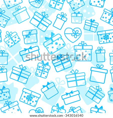 Seamless pattern of gift boxes, light blue on white
