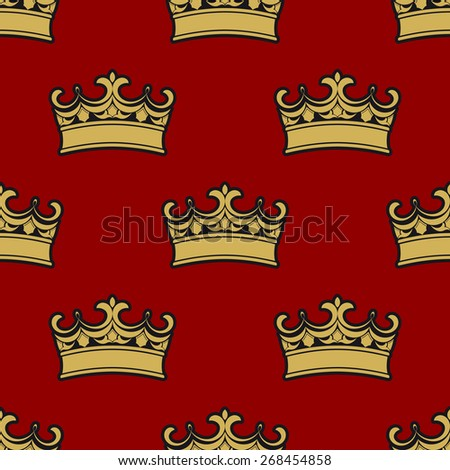 Seamless pattern of golden crowns depicting royalty on a brown background - stock photo