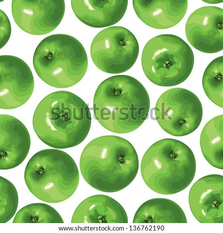 Seamless pattern of green apple