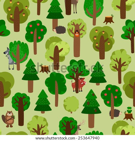 Seamless pattern of green trees with animals. Hedgehog, wild boar, squirrel, wolf, beaver and deer - stock photo